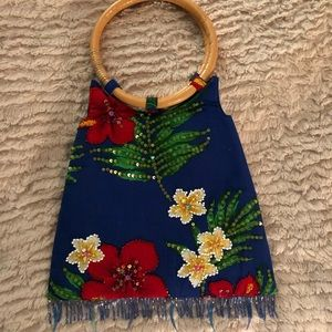 Bamboo Handle, Floral Bag.